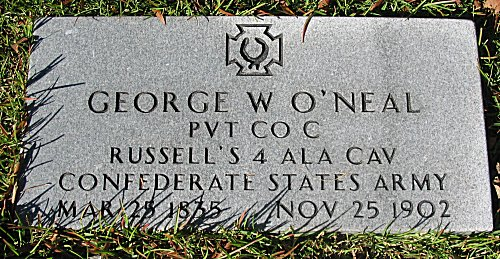 Georges W O'Neal PVT CO C Russell's 4 ALA CAV Confederate State Army - Mar 25 1835 - Nov 25 1902