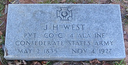 J H West PVT CO C 4 ALA INF Confederate State Army - May 2 1835 - Nov 4 1927