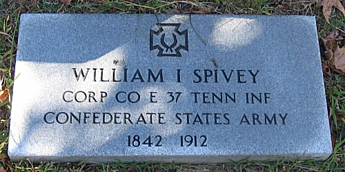 William I Spivey Corp CO E 37 Tennessee Infantry Confederate State Army - 1841 - 1912