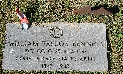 William Taylor Bennett PVT CO G 24 ALA CAV. Confederate State Army - 1847 - 1943