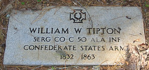 William W Tipton SERG CO C 50 ALA INF Confederate State Army - 1832 - 1863