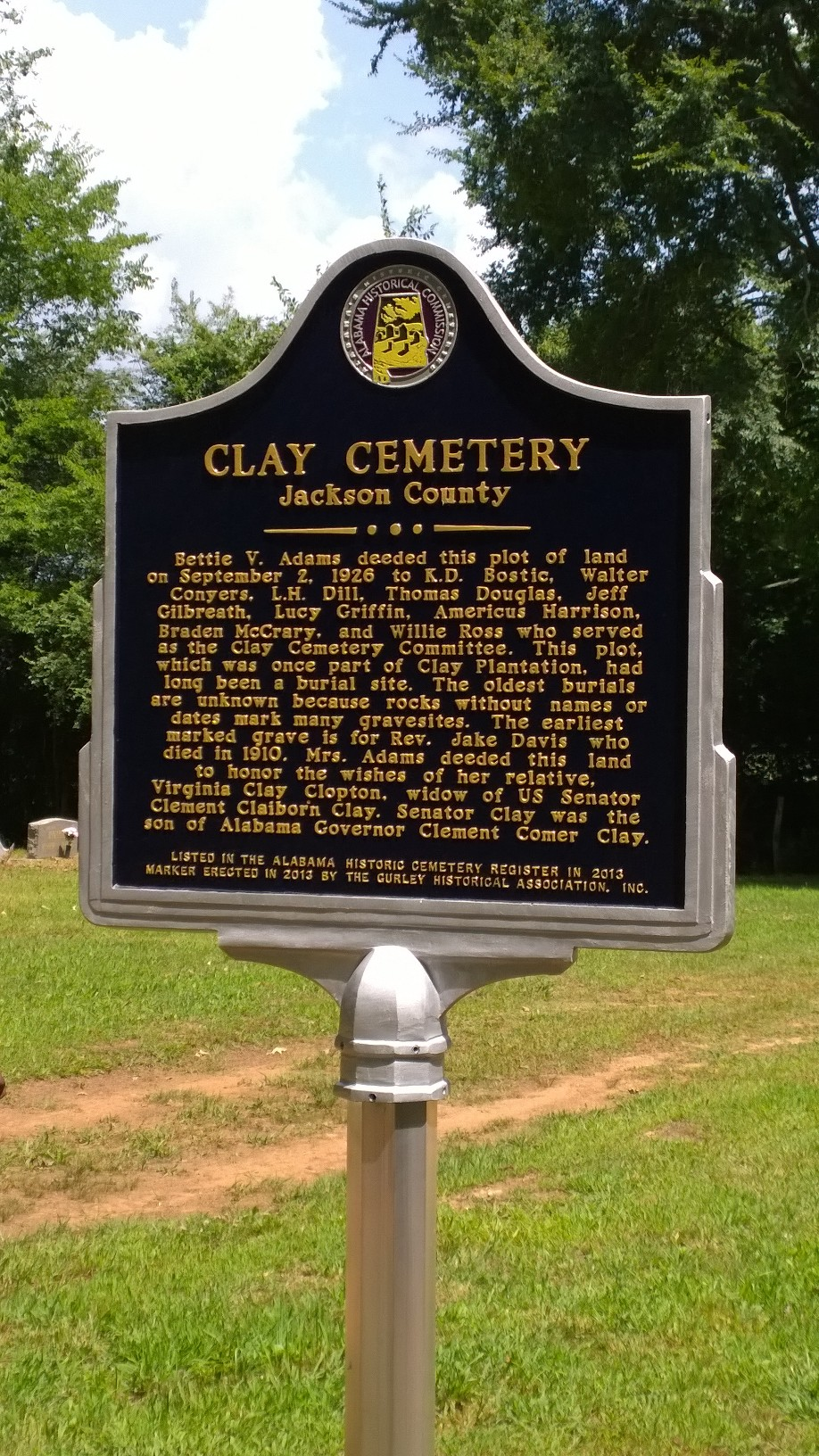 Clay Cemetery marker erected in 2015 by the Gurley Historical Association.