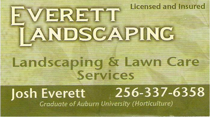 Josh Everett Graduate of Auburn University Horticulture Landscaping Lawn Care Services License and Insured