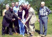 Lynn Stone was helped to break the ground of the Charles Stone Park - Photo by D G Schneider