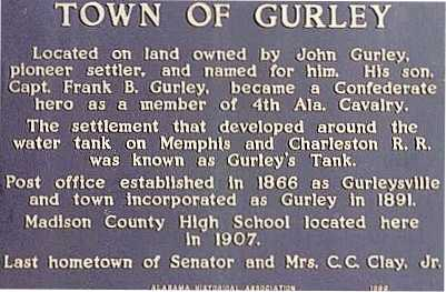 Gurley Madison County Alabama - The Gurley Historical Society