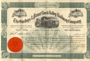 Gurley Paint Rock Railway Company RR Founder's Stock Certificate