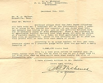Letter from H. A. Michener