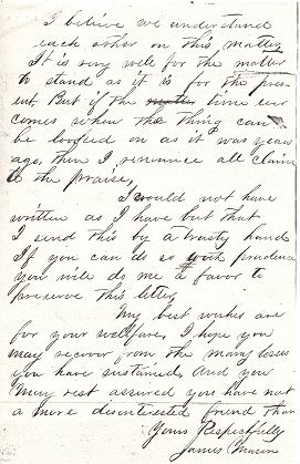 Letter from James Mason to Captain Frank B Gurley