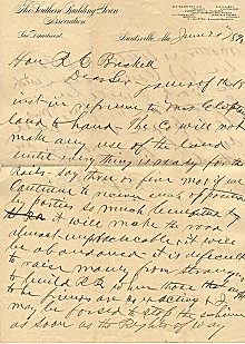 Letter written by Frank Gurley to R. E. Breckell, June 20, 1892