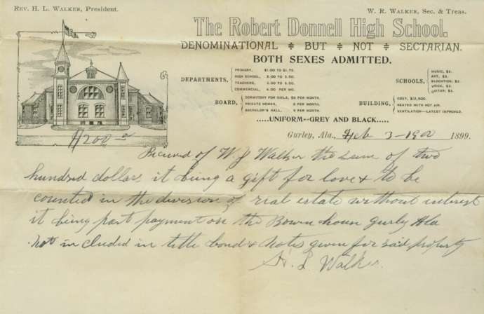 Terry D. Lee volunteer and webmaster for the Madison Co. Records Center found this Robert Donnell High School document in the Probate case file of William J. Walker