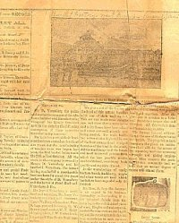 Actual picture of the newspaper article with a sketching of the bucket factory and a bucket